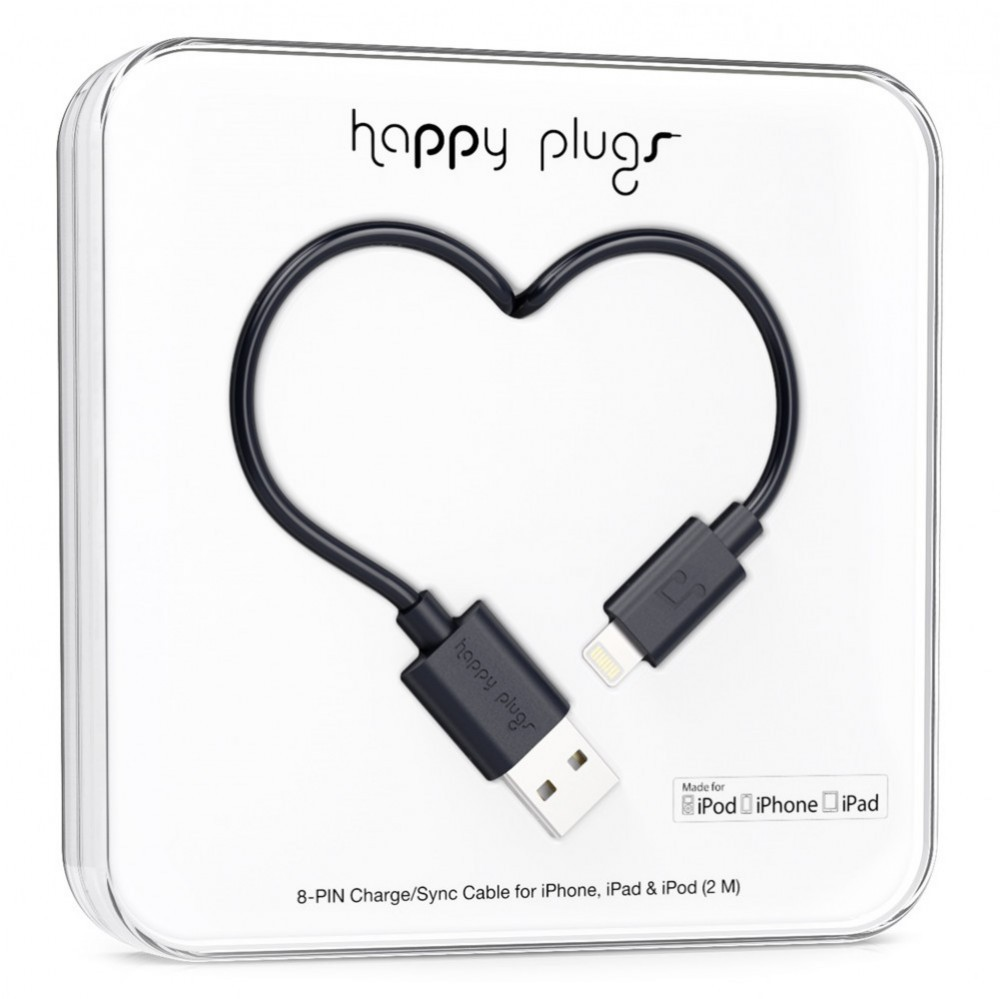 Happy Plugs Lightning till USB kabel Svart